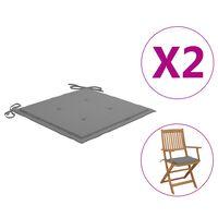 vidaXL Coussins de chaise de jardin 2 pcs Gris 40x40x4 cm Tissu