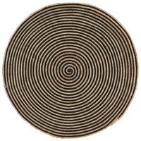 vidaXL Tapis fait à la main Jute avec design de spirale Noir 120 cm