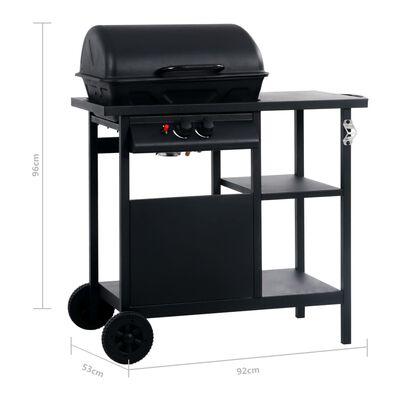 vidaXL Barbecue à gaz avec table latérale à 3 niveaux Noir
