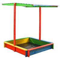 vidaXL Bac à sable avec toit réglable Bois de sapin Multicolore UV50