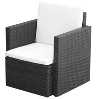 vidaXL Chaise de jardin et coussins et oreillers Résine tressée Noir