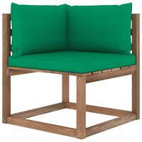vidaXL Canapé d'angle palette de jardin avec coussins vert