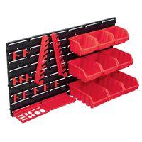 vidaXL Kit de bacs de stockage et panneaux muraux 34 pcs Rouge et noir
