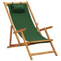 vidaXL Chaise pliable de plage Bois d'eucalyptus solide et tissu Vert