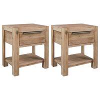 vidaXL Tables de chevet avec tiroirs 2 pcs 40x30x48 cm Bois d'acacia