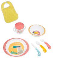 Badabulle Ensemble de vaisselle pour bébé 7 pcs Yummy Corail