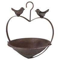 HI Mangeoire à oiseaux en forme de cœur 22 cm Marron