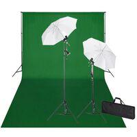 vidaXL Kit de studio et toile de fond verte 600 x 300 cm et lumières