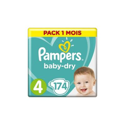 PAMPERS Baby-Dry Taille 4, 9-14 kg - 174 Couches - Pack 1 Mois
