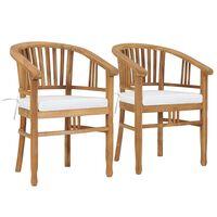 vidaXL Chaises de jardin avec coussins 2 pcs Bois de teck solide