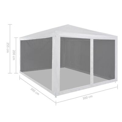 vidaXL Tente de réception avec 4 parois en maille 3 x 3 m