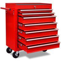 vidaXL Chariot à outils d'atelier avec 7 tiroirs Rouge