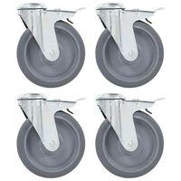 vidaXL 16 pcs Roulettes pivotantes à trou de boulon 125 mm