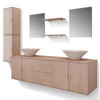 vidaXL Mobilier de salle de bain avec lavabo 9 pcs Beige