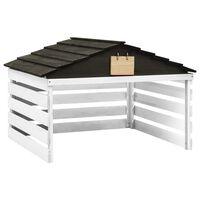 vidaXL Garage de tondeuse à gazon Noir et blanc 78x74x54 cm Sapin