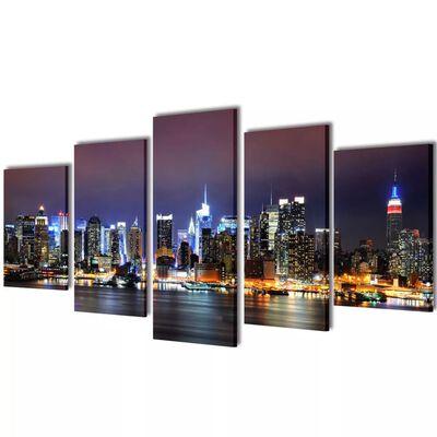 Set de toiles murales imprimées Horizon de New York coloré 200 x 100cm
