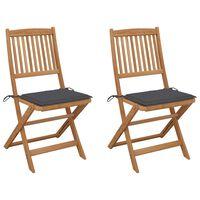 vidaXL Chaises pliables de jardin 2 pcs avec coussins Bois d'acacia