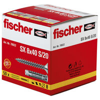 Fischer Ensemble de chevilles d'extension avec vis 8x40 SX 50 pcs