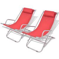 vidaXL Chaises inclinables de terrasse 2 pcs Acier Rouge