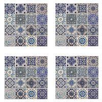 WALPLUS Autocollant mural décoration Bleu espagnol 54x54 cm 4 feuilles
