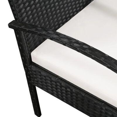vidaXL Canapé de jardin à 3 places avec coussins Noir Résine tressée