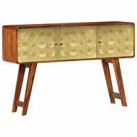 vidaXL Buffet Bois de Sesham solide Imprimé doré 120 x 30 x 80 cm