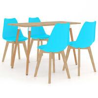 vidaXL Ensemble de salle à manger 5 pcs Bleu