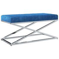 vidaXL Banc 97 cm Bleu Tissu de velours et acier inoxydable