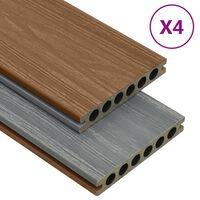 vidaXL Panneaux de terrasse et accessoires WPC Marron/gris 10 m² 4 m