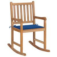 vidaXL Chaise à bascule avec coussin bleu royal Bois de teck solide