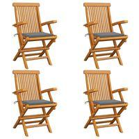 vidaXL Chaises de jardin avec coussins gris 4 pcs Bois de teck massif