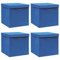 vidaXL Boîtes de rangement avec couvercle 4 pcs Bleu 32x32x32 cm Tissu