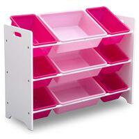 Delta Children Organisateur de jouets à 9 bacs Plastique Blanc et rose