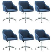vidaXL 6 pcs Chaises pivotantes de salle à manger Bleu Tissu