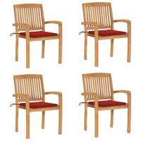 vidaXL Chaises de jardin empilables avec coussins 4 pcs Teck solide