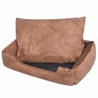vidaXL Lit pour chiens avec coussin Cuir artificiel PU Taille S Beige