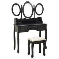 vidaXL Coiffeuse avec tabouret et miroir pliable en 3 Noir