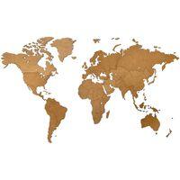 MiMi Innovations Décoration carte du monde murale Bois Marron 130x78cm