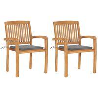 vidaXL Chaises de jardin 2 pcs avec coussins gris Bois de teck massif