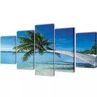 Set de toiles murales imprimées Plage avec palmier 100 x 50 cm