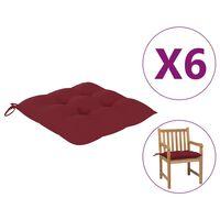 vidaXL Coussins de chaise 6 pcs Bordeaux 50x50x7 cm Tissu
