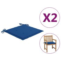 vidaXL Coussins de chaise de jardin 2 pcs Bleu royal 50x50x4 cm Tissu