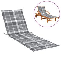 vidaXL Coussin de chaise longue Carreaux gris 200x60x4 cm Tissu