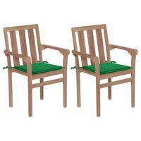 vidaXL Chaises de jardin 2 pcs avec coussins vert Bois de teck massif