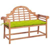 vidaXL Banc de jardin avec coussin vert vif 120 cm Bois de teck massif