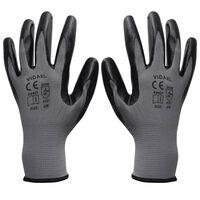 vidaXL Gants de travail Nitrile 1 paire Gris et noir Taille 9/L