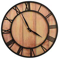vidaXL Horloge murale 39 cm Marron et noir MDF et fer