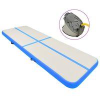 vidaXL Tapis gonflable de gymnastique avec pompe 400x100x20cm PVC Bleu