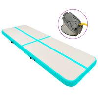 vidaXL Tapis gonflable de gymnastique avec pompe 400x100x20cm PVC Vert