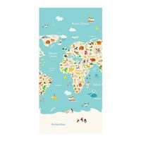 Good Morning Serviette de plage WORLDMAP 75x150 cm Bleu clair